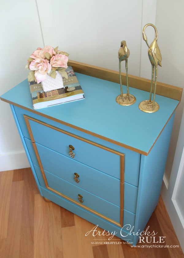 IKEA Rast Hack - Blue and Gold Chest - Hickory Hardware - New Top and Back - #ad #ikeahack #hickoryhardware #artsychicksrule