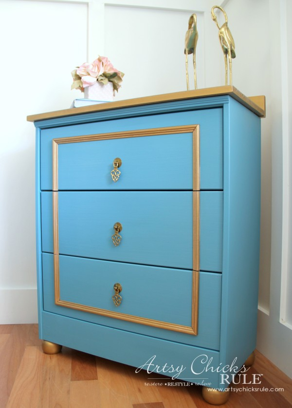 IKEA Rast Hack - Blue and Gold Chest - Hickory Hardware - Side View #ad #ikeahack #hickoryhardware #artsychicksrule