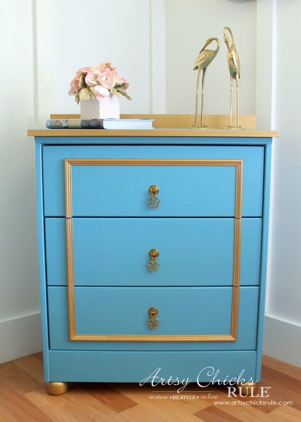 IKEA Rast Hack - Blue and Gold Chest - Hickory Hardware - #ad #ikeahack #hickoryhardware #artsychicksrule
