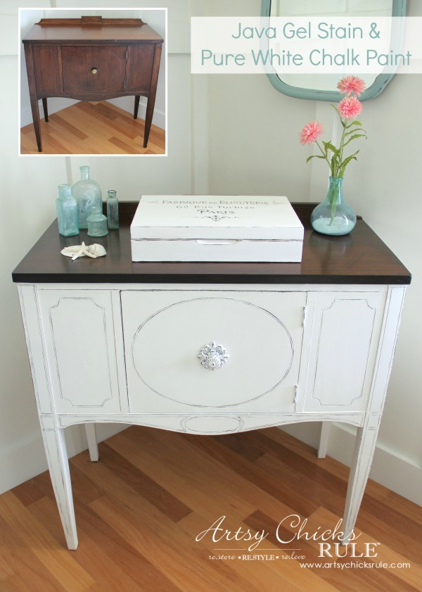 Sideboard Makeover with CHALK PAINT and my favorite top coat! - artsychicksrule.com #sideboardmakeover #paintedfurniture #chalkpaintedfurniture #chalkpaint #aubussonblue #javagel