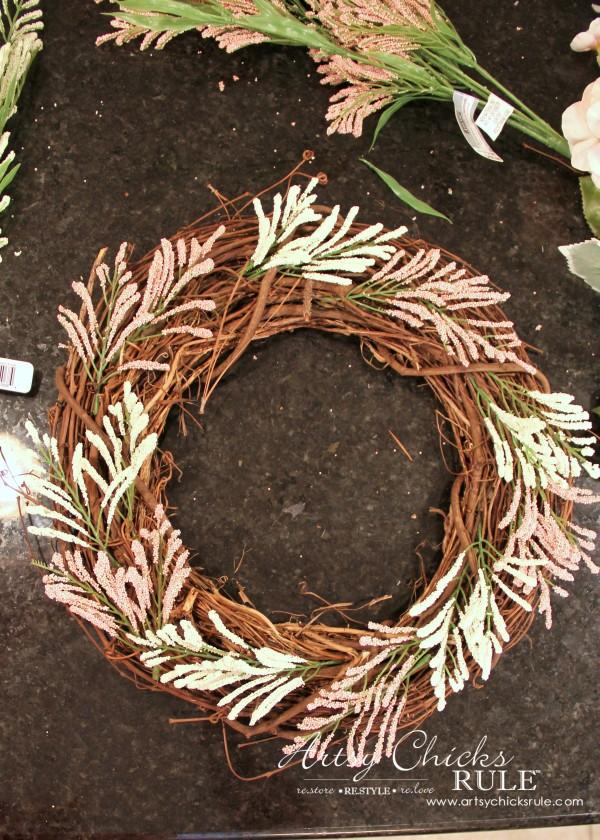 Simple DIY Spring Wreath - Adding Sprigs Around Wreath - #spring #wreath #springwreath artsychicksrule.com