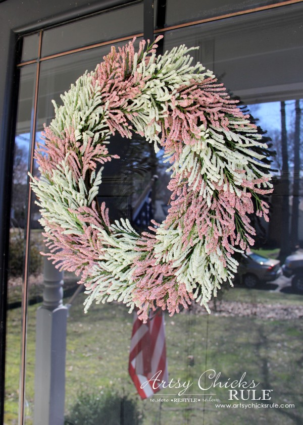 Simple DIY Spring Wreath - On Glass Door - #spring #wreath #springwreath artsychicksrule.com