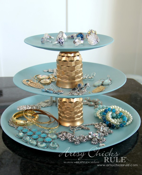 Thrifty Makeovers - Swap It Challenge - Jewelry Tray DIY - Old plastic plates and juice glasses repurposed into a 3 tiered jewelry tray!...Easy!!! #repurposed #diy artsychicksrule.com