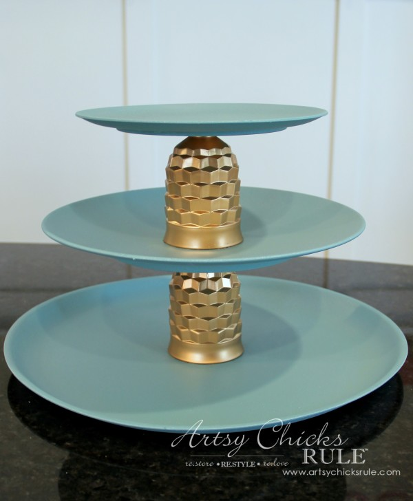 Thrifty Makeovers - Swap It Challenge - Thrifty Three Tiered Tray - Artsy Chicks Rule