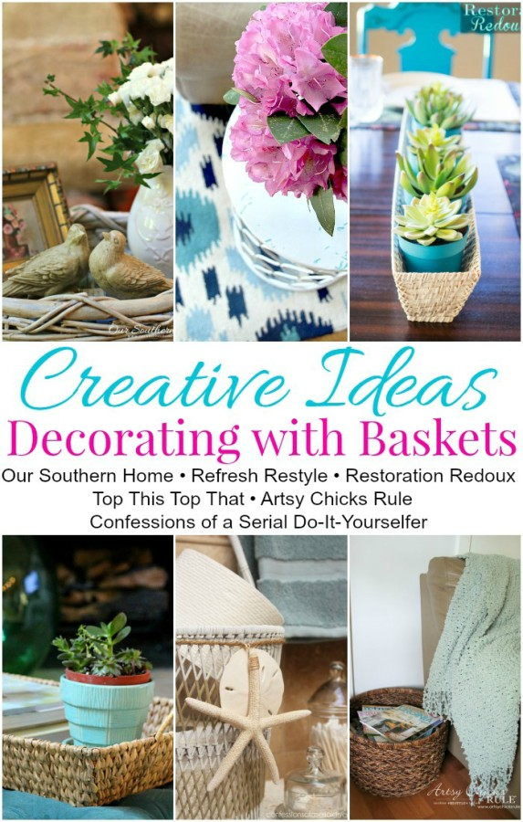 Decorating with Baskets - Functional and Decorative! - artsychicksrule.com #baskets #homedecor