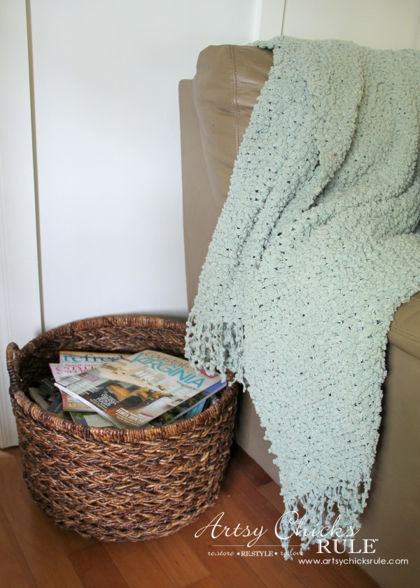 Decorating with Baskets - Functional and Decorative Storage Solution - for magazines! artsychicksrule.com #baskets