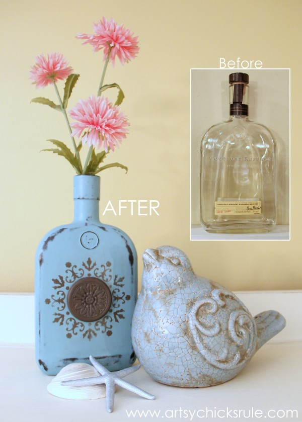 Easy-DIY-Chalk-Painted-Bottles-Oil-Rubbed-Bronze-Before-After-artsychicksrule.com-thriftydecor-chalkpaint-oilrubbedbronze-diy-600x839