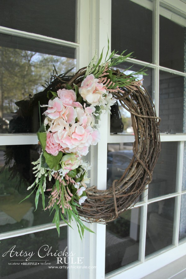 Easy DIY Floral Wreath - Hang on windows #wreath artsychicksrule.com