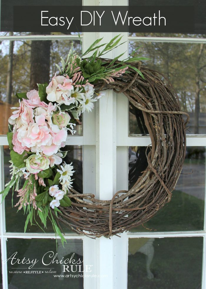 Simple (and thrifty!) DIY Floral Wreath - Artsy Chicks Rule®