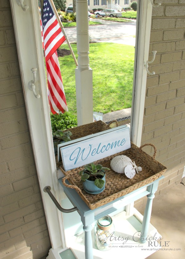 Easy DIY Welcome Sign - Front Porch Hall Tree - #welcome #sign artsychicksrule.com