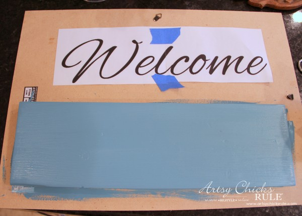 Easy DIY Welcome Sign - Paint first coat - #welcome #sign artsychicksrule.com