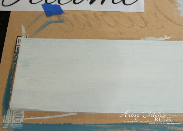 Easy DIY Welcome Sign - Paint second coat - #welcome #sign artsychicksrule.com