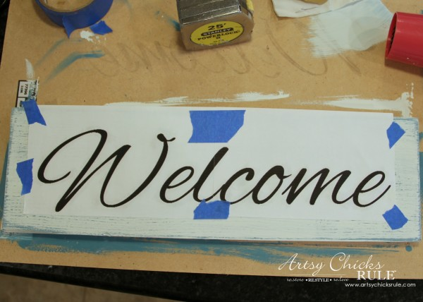 Easy DIY Welcome Sign - Super easy transfer! - #welcome #sign artsychicksrule.com