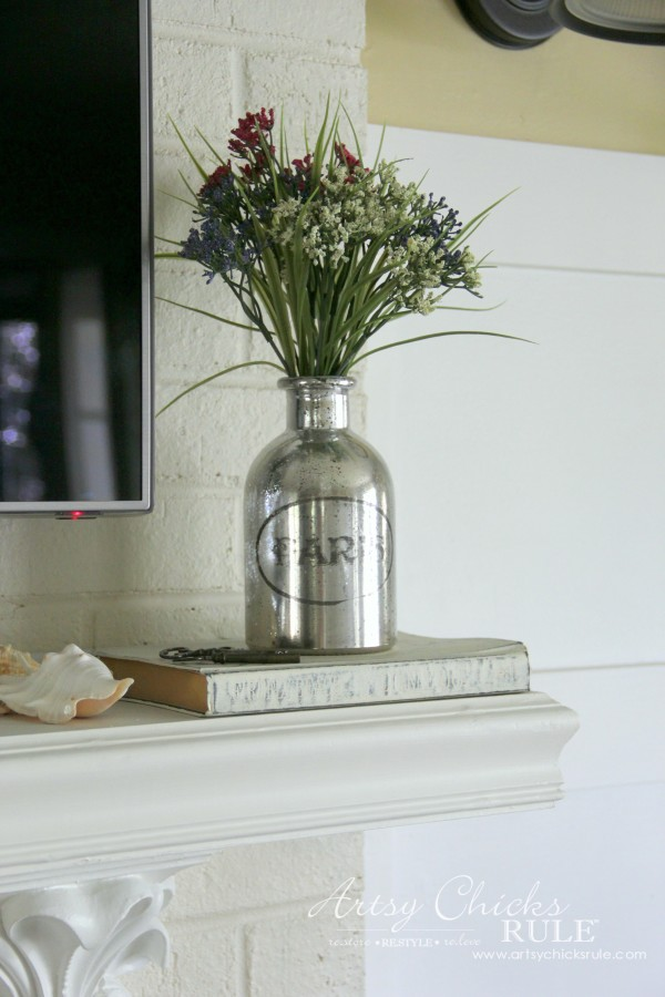 Home Treasure Swap with Porch - Paris Bottle on the mantel - artsychicksrule.com #homedecor #thrifty