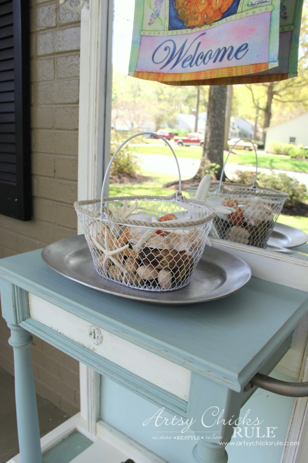 Home Treasure Swap with Porch - nautcial basket - artsychicksrule.com #homedecor #thrifty