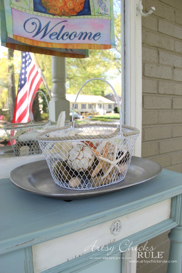Home Treasure Swap with Porch - seashell basket makeover - artsychicksrule.com #homedecor #thrifty