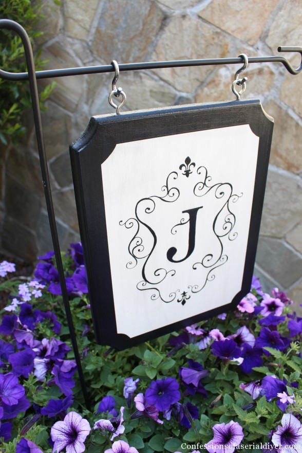 Monogrammed-Outdoor-plaque- Confessions of a Serial Do It Yourselfer