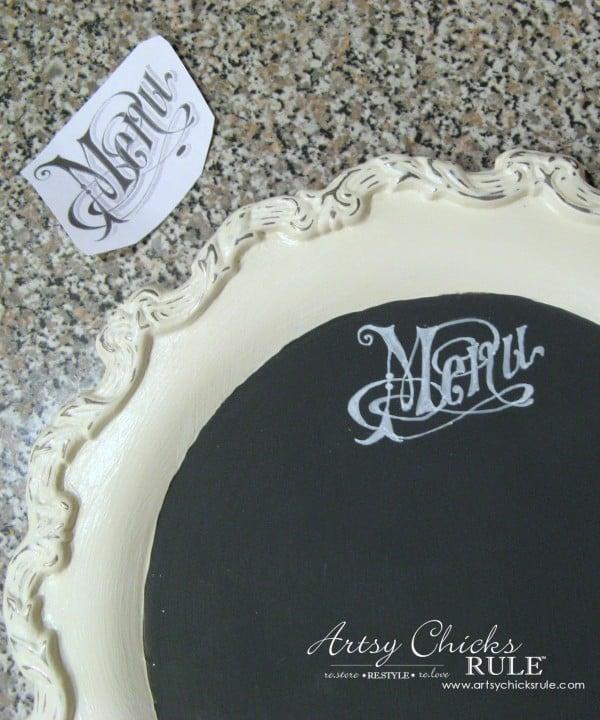 Old Metal Tray Repurposed With Chalk Paint Menu Chalkboard Artsy