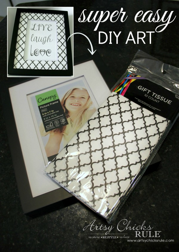 SUPER EASY DIY ART!! - Add tissue paper, printable and done! - artsychicksrule.com #DIYart