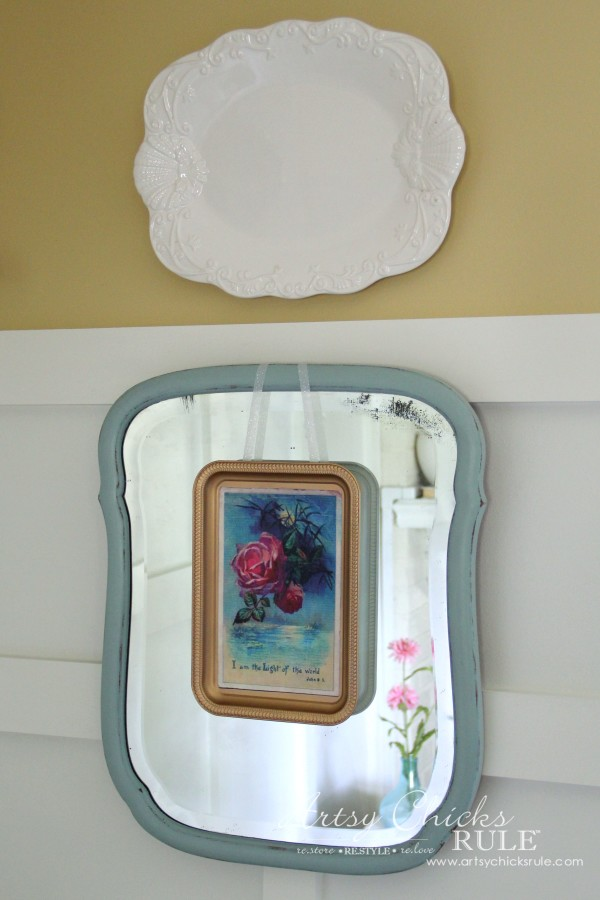 Sprayed gold tray with Mod Podge Decoupage Graphic in center - artsychicksrule.com #homedecor #thrifty