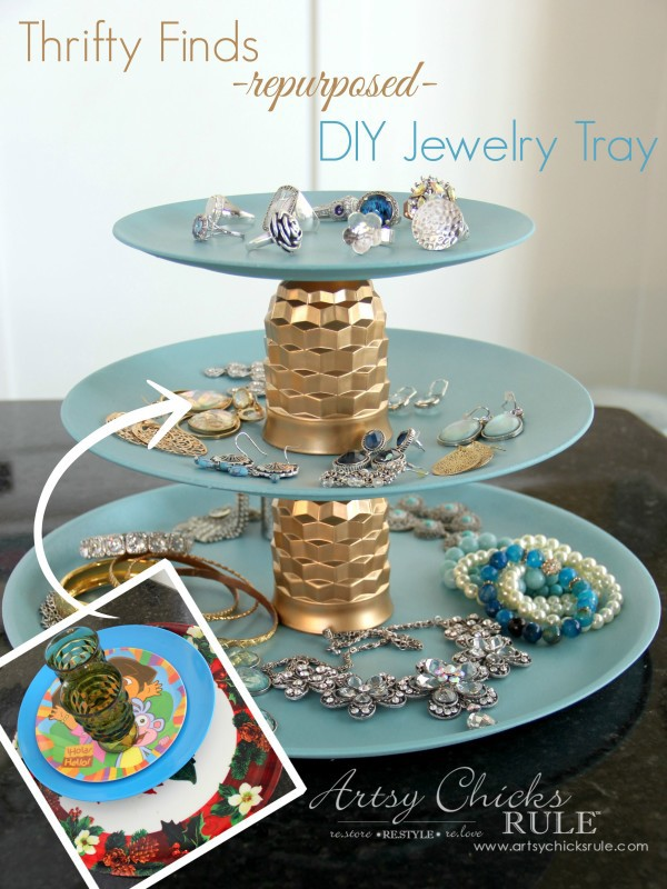 Thrifty-Makeovers-Swap-It-Challenge-DIY-Repurposed-Jewelry-Teired-Tray-Artsy-Chicks-Rule-