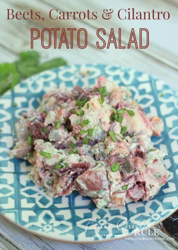 Beet, Carrot & Potato Salad - Fun twist on an old favorite!  - #recipe #potatosalad #cilantro oodiechicksrule.com
