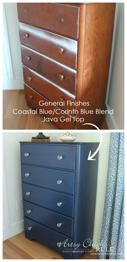 Coastal & Corinth Blue Milk Paint Makeover w Java Gel Top - Finished - #generalfinishes #milkpaint #javagel artsychicksrule.com