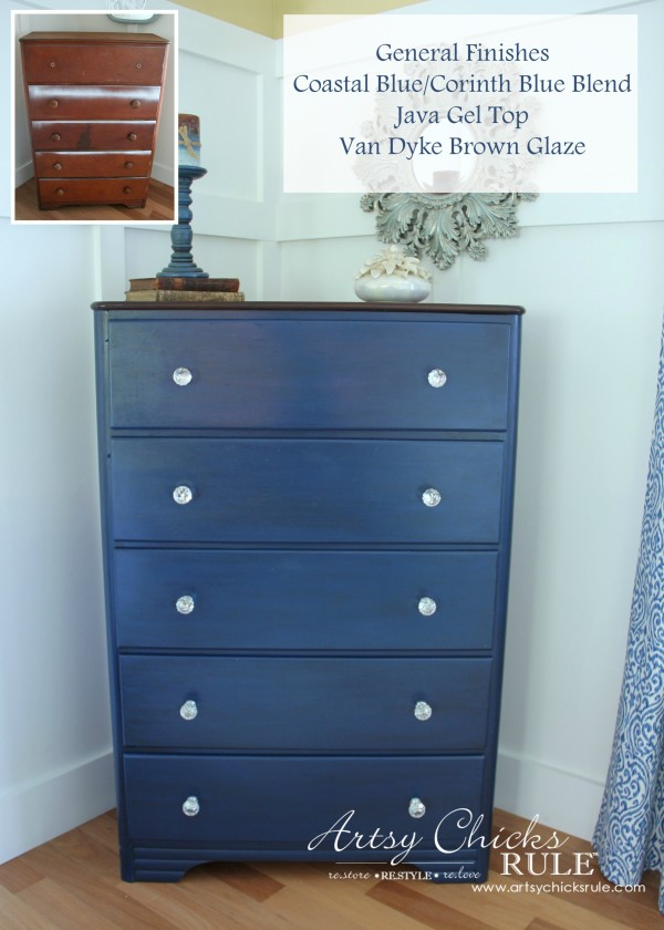 Coastal & Corinth Blue Milk Paint Makeover w Java Gel Top - bef and aft - #generalfinishes #milkpaint #javagel artsychicksrule.com