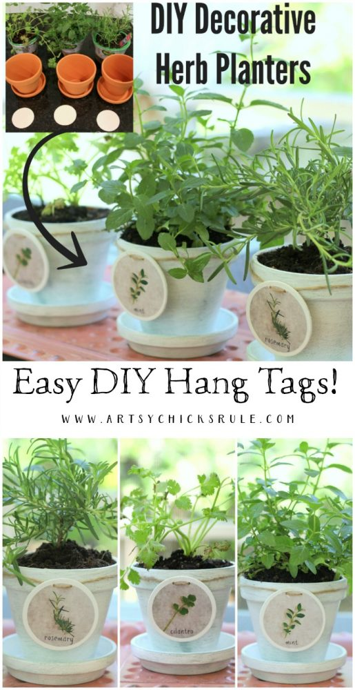 EASY DIY Hang Tags! DIY Decorative Clay Pots for Herbs -artsychicksrule.com