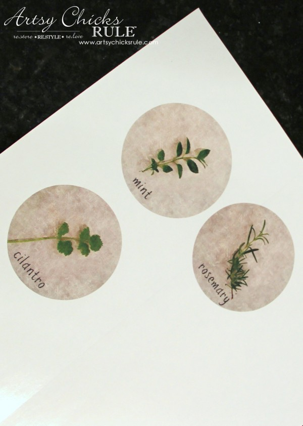 DIY Decorative Clay Pots for Herbs - Design and Print Labels -artsychicksrule.com