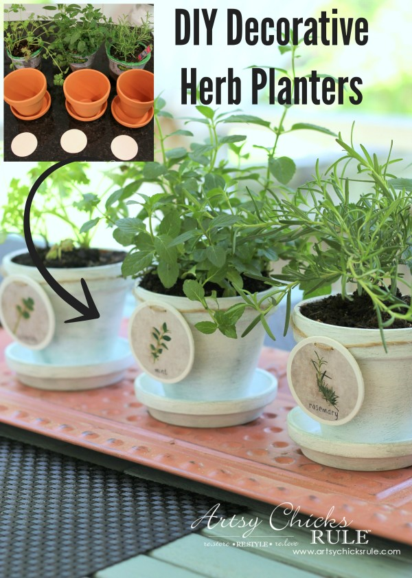 DIY Decorative Clay Pots for Herbs - Mint, Cilantro and Rosemary Labels INCLUDED -artsychicksrule.com