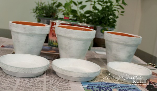DIY Decorative Clay Pots for Herbs - Painted White and Dry Brushed with Persian Blue -artsychicksrule.com