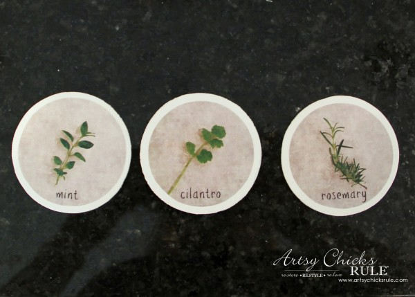DIY Decorative Clay Pots for Herbs - Wood Circles from Michaels, Paint and attach Label -artsychicksrule.com