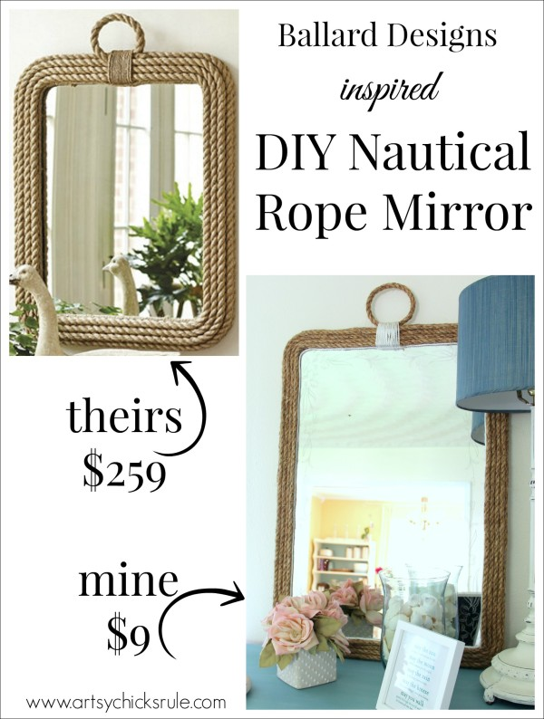 DIY Nautical Rope Mirror - Inspired by Ballard Designs - Hot Glue Rope - #thrifty #inspiredby artsychicksrule
