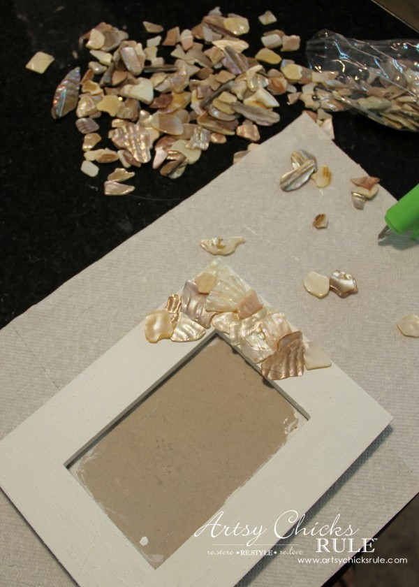 DIY Seashell Frame Art - Add Shells with Hot Glue - #beach #seashell artsychicksrule.com