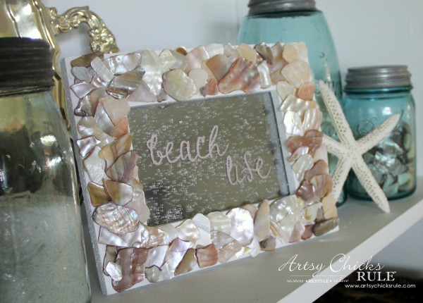 DIY Seashell Frame Art - Glass turned to Mirror - #beach #seashell artsychicksrule.com