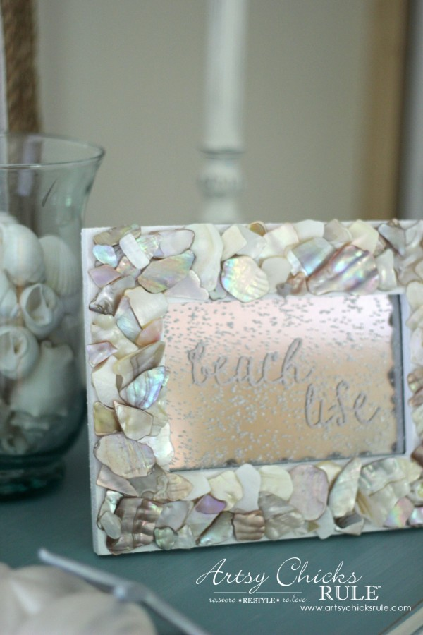 DIY Seashell Frame Art - Looking Glass Spray and Graphics - #beach #seashell artsychicksrule.com