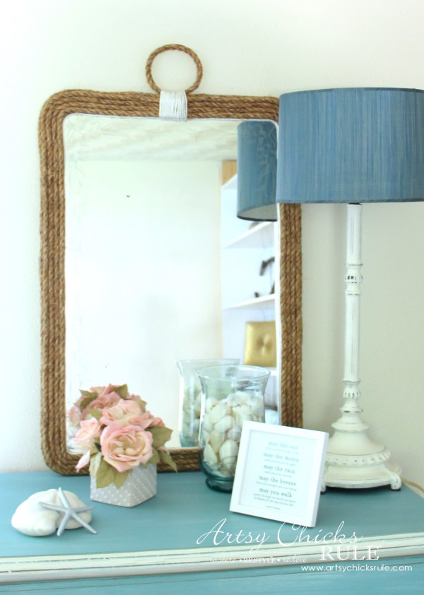 Nautical Rope Mirror - Inspired by Ballard Designs $259 - My version $9 - #thrifty #inspiredby artsychicksrule.com