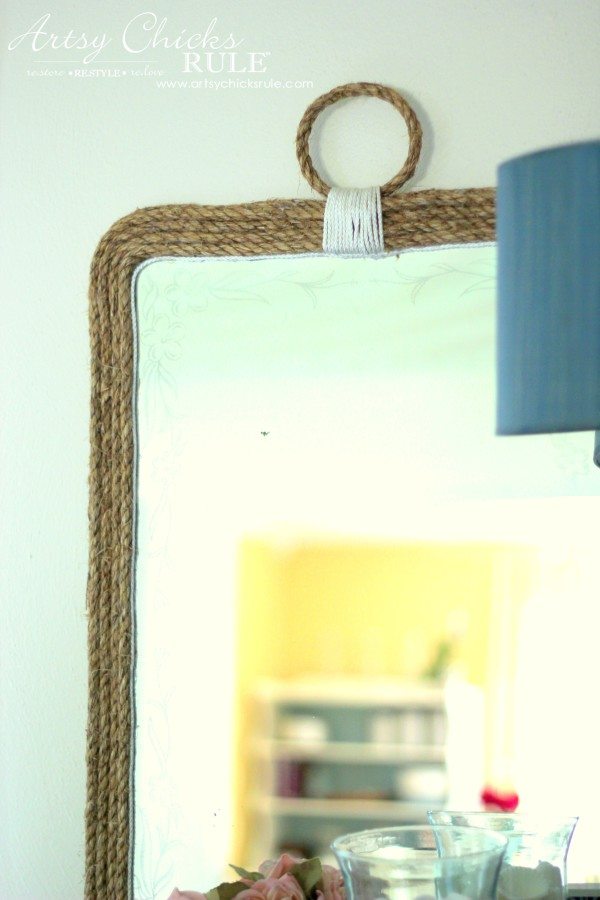Nautical Rope Mirror - Inspired by Ballard Designs - DIY for $9 - #thrifty #inspiredby artsychicksrule.com