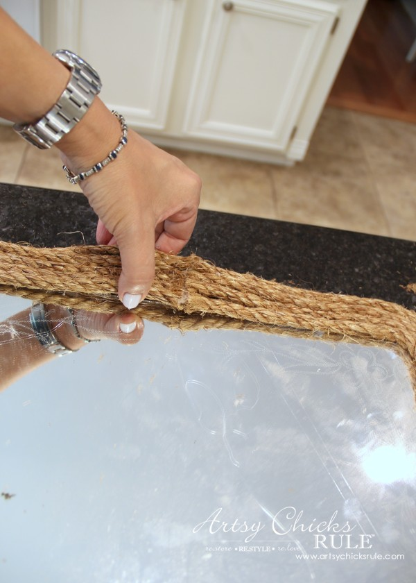 Nautical Rope Mirror - Inspired by Ballard Designs - Glue Center - #thrifty #inspiredby artsychicksrule.com