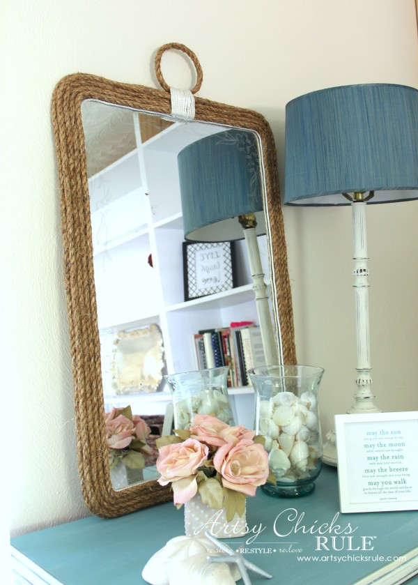 Nautical Rope Mirror - Inspired by Ballard Designs - Save $200 by making yourself! - #thrifty #inspiredby artsychicksrule.com