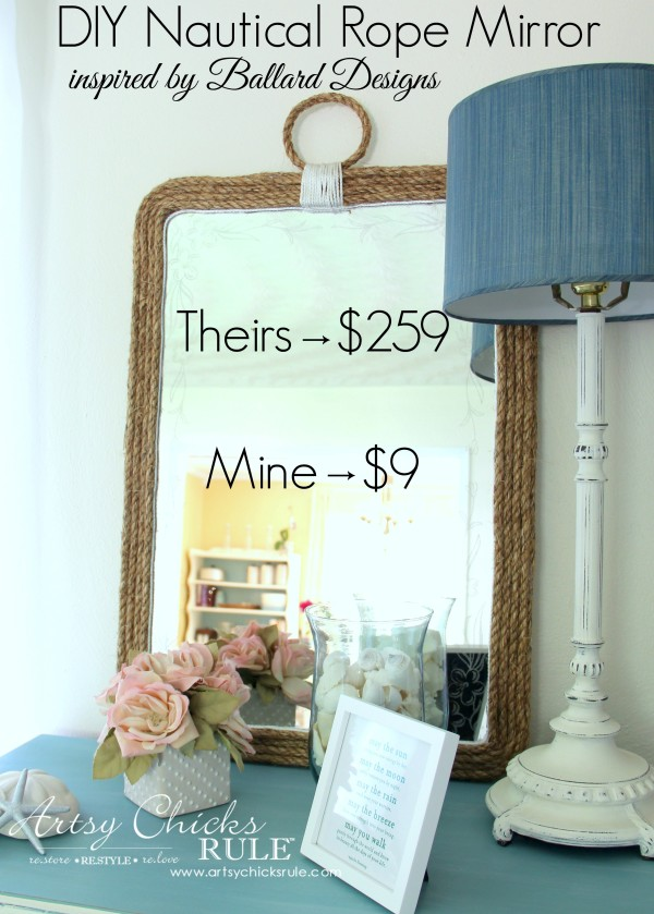 Nautical Rope Mirror - Inspired by Ballard Designs - Theirs $259 Mine $9 - #thrifty #inspiredby artsychicksrule.com