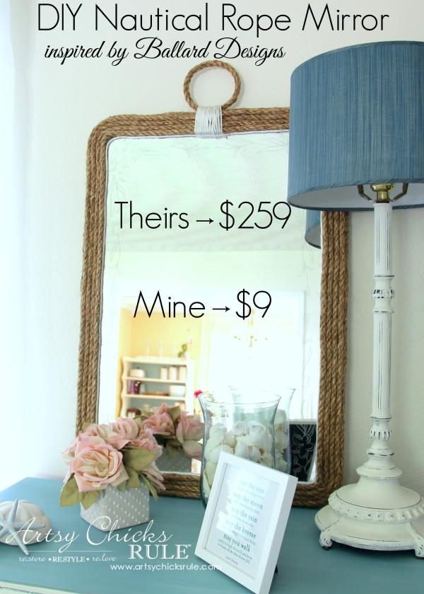 Nautical Rope Mirror - Inspired by Ballard Designs - Theirs $259 Mine $9 - #thrifty #inspiredby artsychicksrule.com