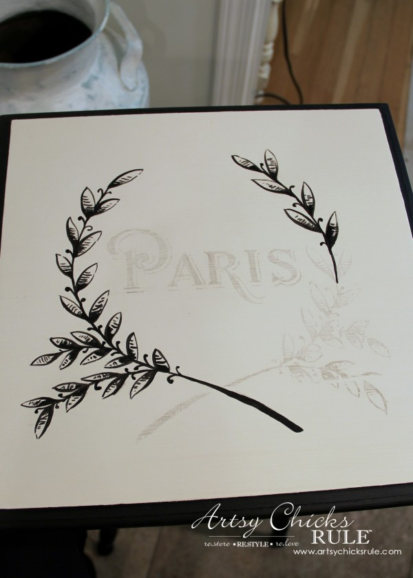 Paris Side Table Makeover - Hand Painting Graphic - #paris #makeover #chalkpaint #milkpaint artsychicksrule.com