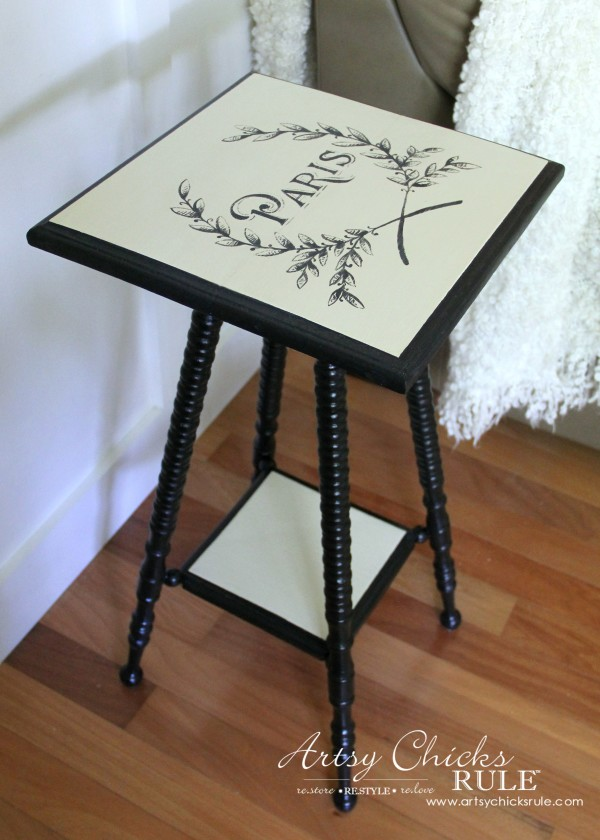 Paris Side Table Makeover - Lamp Black Milk Paint - #paris #makeover #chalkpaint #milkpaint artsychicksrule.com