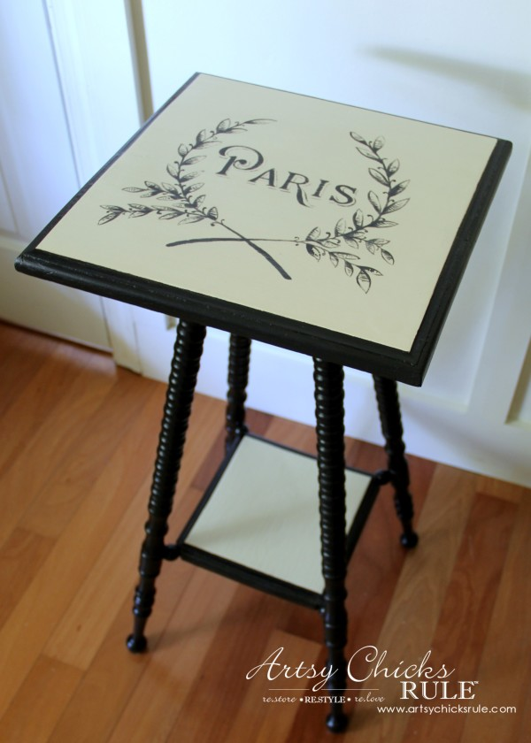 Paris Side Table Makeover - Milk Paint Base - #paris #makeover #chalkpaint #milkpaint artsychicksrule.com