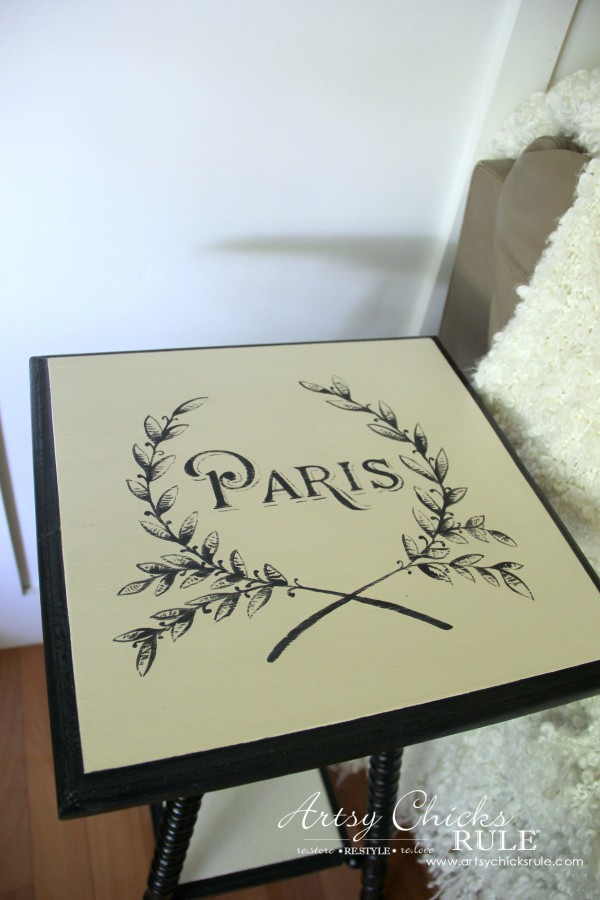 Paris Side Table Makeover - Paris Graphic Top - #paris #makeover #chalkpaint #milkpaint artsychicksrule.com