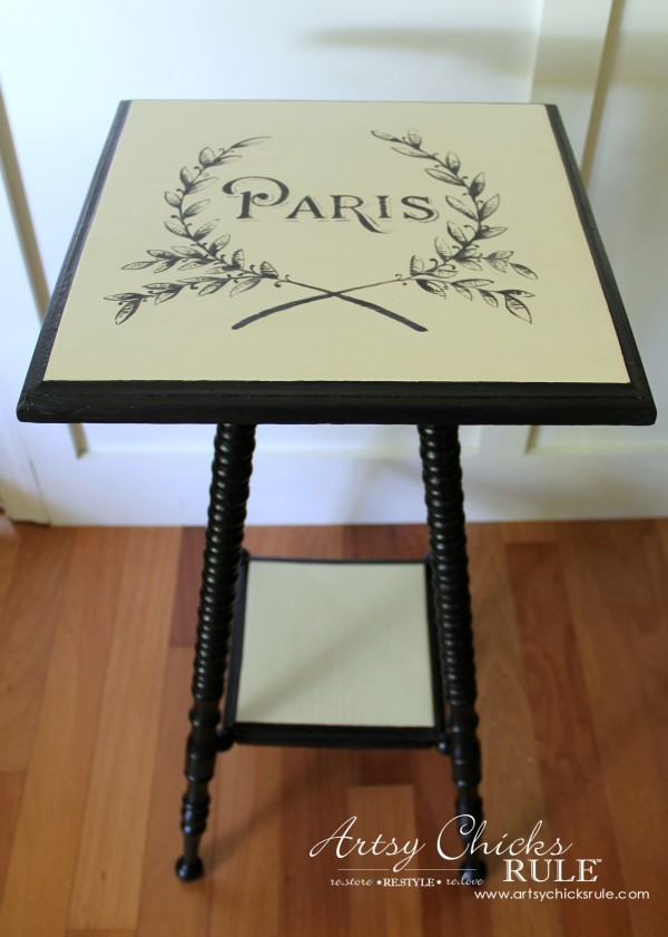 Paris Side Table Makeover - Side - #paris #makeover #chalkpaint #milkpaint artsychicksrule.com