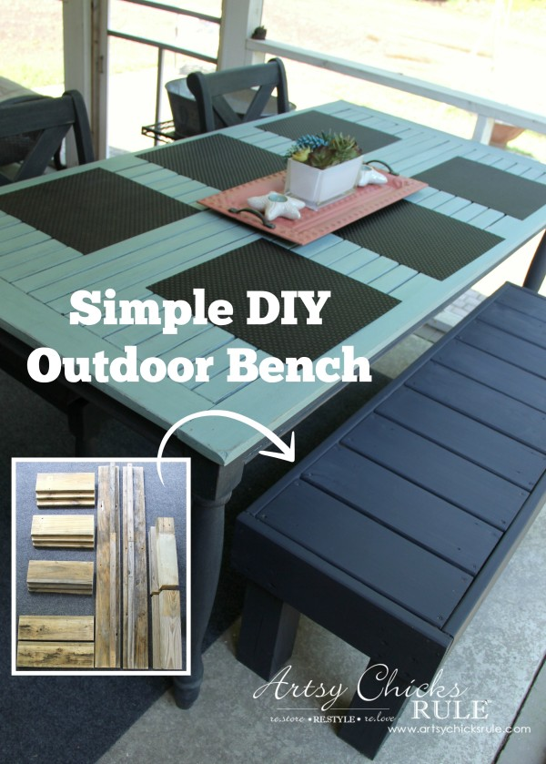 You can do it!! Simple DIY Outdoor Bench - artsychicksrule.com