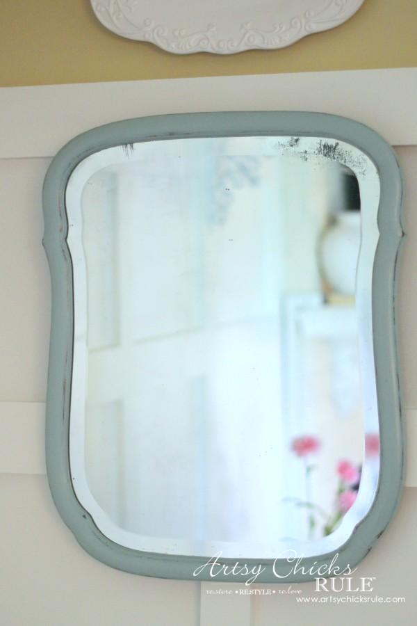 Vintage Collections - $6 Thrift Store Antique Mirror - #vintage #collections #bluemasonjars #retro #antique artsychicksrule.com
